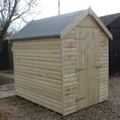 0221003600LogLapGreen  Log Lap Cladding Pressure Treated Apex Shed