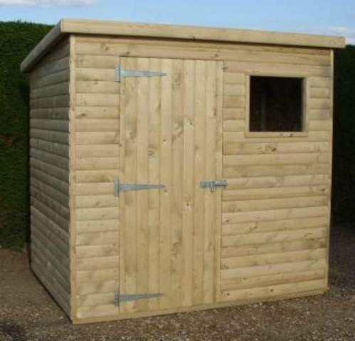 0221003600LogLapGreen  Log Lap Cladding Pressure Treated Pent Shed