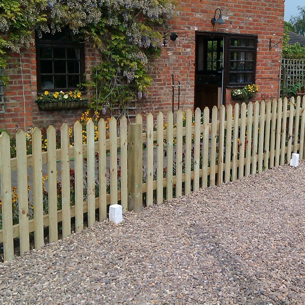 Picket pale fence panel pointed top pressure treated for Picket fence cost estimator