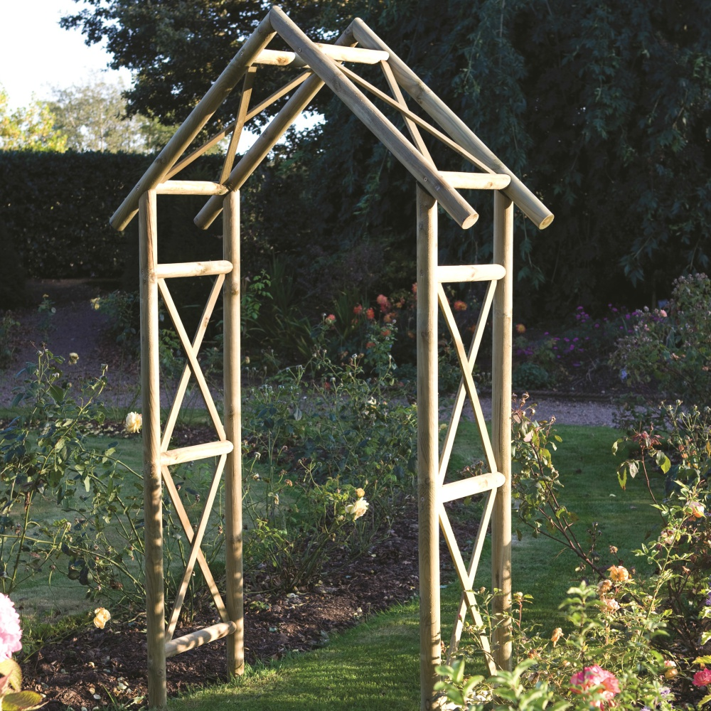 Rustic arch garden structures pressure treated fsc for Flat pack garden decking