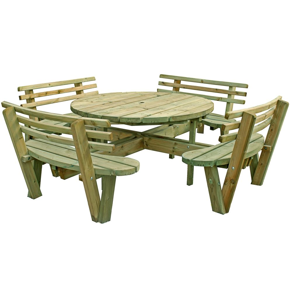 Round Seat Picnic Table Backs Pressure Treated Free Delivery - 8 seater round picnic table