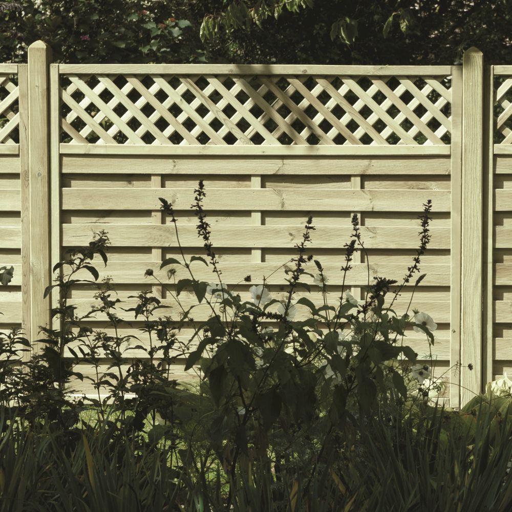 Horizontal Boarded Lattice Fence Panel Pressure Treated
